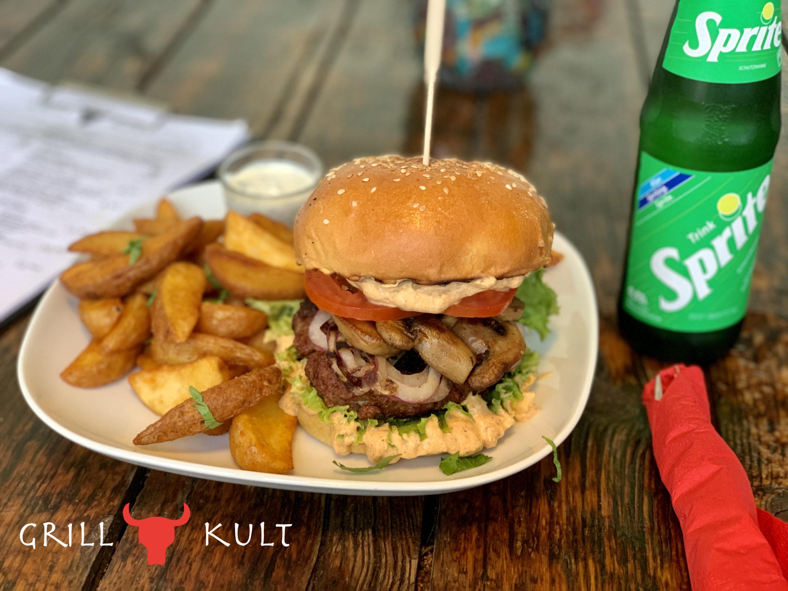 Lamm-Kalb-Burger mit Logo